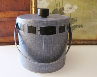 Irvinware Faux Denim Jean Ice Bucket, Back Pocket for Tongs, Dad's Jeans, Retro Father's Day Gift, Vintage Bar Ware, Collectible Ice Bucket