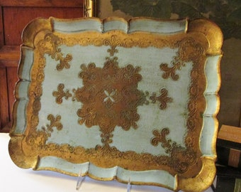 Italian Florentine Tray, Turquoise and Gold Scallop Edge Tray, Hollywood Regency Decor, The Gilded Tassel, Vintage Decorative Tray
