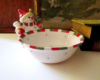 Vintage Christopher Radko Holiday Celebrations , Snowman Candy Dish, Christmas Candy Bowl