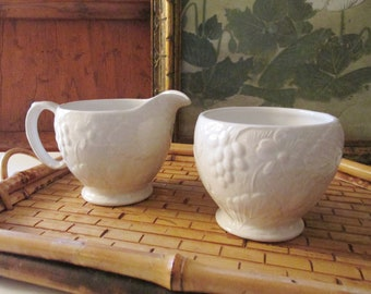Vintage Burleigh Open Sugar Bowl and Creamer, Majolica Strawberry and Grape Leaf Embossed Ironstone China