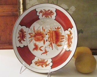 Vintage Oriental Porcelain and Brass Bowl/Wall Art, Chinoiserie Red Porcelain and Brass Dish, Oriental Wall Decor