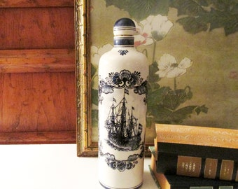 Vintage Delft Holland Decanter, Royal Netherlands Navy, Blue and White Jug, Hand Painted Delft Clipper Ship, Tall Porcelain Decor