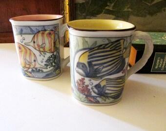 Two Vintage Takahashi Tropical Fish Mugs or Coffee Cup, Tea Mugs, Tropical Fish, Chinoiserie Mug, Palm Beach Decor