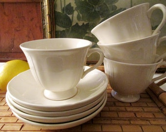 Vintage Wedgwood Queen's Shape, Plain White Teacups and Saucers, Set of Four, Wedding China