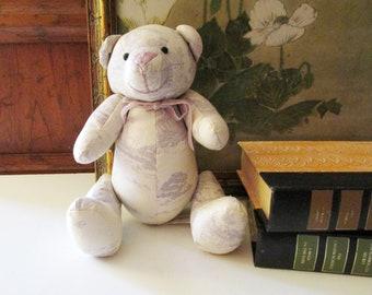 Vintage Laura Ashley Toile Teddy Bear, English Lavender Teddy Bear, Tolie de Jouy Fabric Bear, Valentine Gift, English Country Charm
