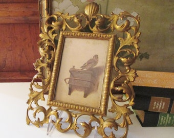 Vintage Ornate Brass Picture Frame, Wall Gallery Decor, Brass Frame, Rococo Design, Hollywood Regency