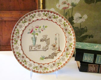 Antique Transferware Plate with Chinoiserie Floral, Aesthetic Ironstone Plate,