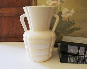 Vintage York Pottery Company Vase, American Art Moderne Creamy White Vase, Pfaltzgraff Vase, Modernist Vase