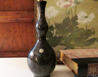 Vintage Black Enamel Brass Vase, Double Gourd Style Vase, Oriental Black and Gold Marbleized Brass Vase,