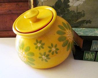 Vintage Slipware Style Cookie Jar, Retro Bright Yellow Flower Jar, Happy Cookie Jar, Large Pop Art Container