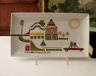 Vintage Crate & Barrel Yule Town Appetizer, Julia Rothman, Christmas Mod Folk Art Dish, Holiday Entertaining