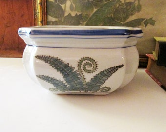 Vintage Cachepot with Fern Design, Sage Green and White Planter, Palm Beach Decor, Chinoiserie Pot, The Gilded Tassel