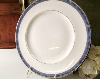 Royal Doulton Atlanta Dinner Plate, Greek Key, Blue and White Fine Bone China, Silver Rim, Elegant Dining, 1994 Dinner Plate
