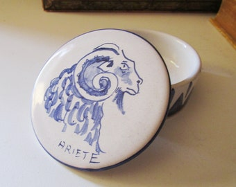 Vintage Dip a Mano Hand Painted Trinket Box, Gift For Aries, Italian Pottery, Blue and White Ring Box, Hollywood Regency