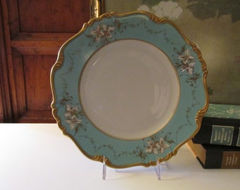 Antique Edelstein Bavaria Porcelain Blue Plate, Gilded Trimmed Turquoise Lily Serving Plate, Wedding China, Dessert Tray, Maria Theresia