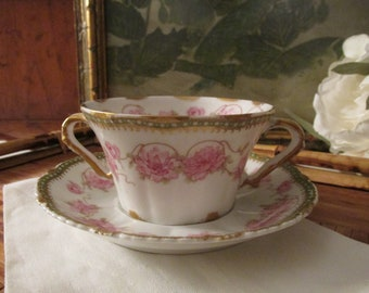 Vintage French Theodore Haviland Limoges, Bouillon Cup, Two Handled Gilded Flat Bottom Cup, Pink Roses Romantic Fine China