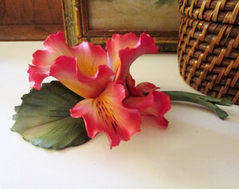 Vintage Capodimonte Porcelain Flower, Pink Lily, Hand Made, Made in Italy, Vintage Gift, Gift for Gardener, Mother's Day Gift