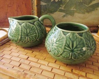 Vintage Bordallo Pinheiro Green Lily Pad Creamer and Open Sugar Bowl, Portugal, Alfresco Dining