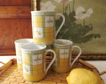 Vintage Mikasa English Rose Mugs, Set of Four Lemon Yellow and Green Coffee Mugs , Alfresco Dining Set, Palm Beach