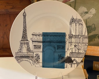 Vintage Royal Stafford Paris Dinner Plate, City Sketch Color Block Plate, Eiffel Tower, French Chic Decor, Wall Gallery Decor