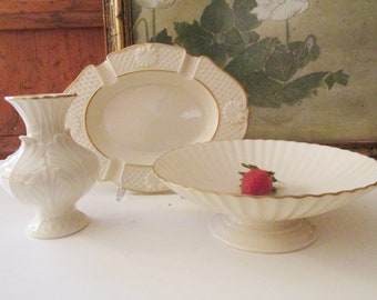 Assorted Vintage Lenox USA Porcelain China, Shell Motif Ash Tray, Fluted Footed Bowl, Small Floral Vase