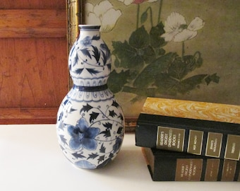 Vintage Blue and White Vase, Chinoiserie Double Gourd Vase, Hollywood Regency, Palm Beach Decor, Coffee Table Decor