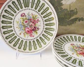 French Limoges Dessert Plates, Seven Piece Set by Falcon Limoges, Peint A La Main, French Chic, Romantic Vintage Dinnerware