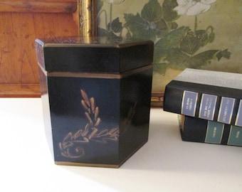Vintage Wooden Box by Centrum, Black Hexagonal Box, Tea Caddy Style Box, Storage Box, British Colonial Style