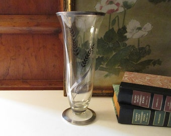Vintage Sterling Overlay Vase, Mid Century Wheat Design Glass Vase, Flower Vase