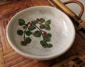 Salt Marsh Pottery Dish, Partridgeberry, Hanging Bowl, Evergreen Shrub, Boho Organic Wall Decor, Gallery Wall, Art Pottery