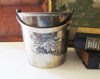 Vintage Chinoiserie Ice Bucket, Silver Pail, Vintage Silver Bucket, Pagoda, Chinoiserie Chic Oriental Bar Decor, Wine Bottle Cooler, Planter