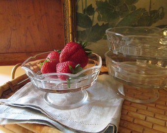 Vintage Glass Footed Fruit Dish, Ice Cream Compote, Alfresco Dining, Farmhouse Kitchen