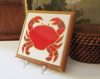 Vintage Jane Tallman, Tile Art, Inc Red Crab Trivet, Boho  Decor, Nautical Decor, Stoneware Tile, Home Office Decor, Vintage Gift
