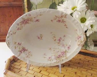 Vintage Haviland Small Serving Bowl, French Porcelain Floral Bowl, Oval Porcelain Side Dish