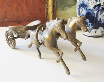 Vintage Horse and Chariot Sulpture, Coffee Table Decor, Boho Decor, Roman Chariot, Greek Chariot Figurine