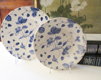 Four Royal Stafford Blue Alpine Dinnerware, Three Salad Plates, One Cereal Bowl, Blue Strawberries, Made in England, Blue White Decor