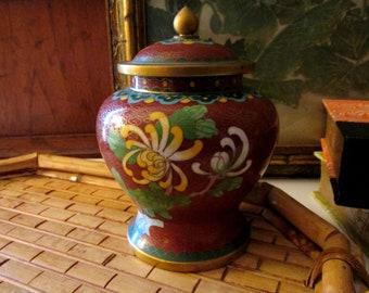 VIntage Cloisonne Ginger Jar, Oriental Vase, Butterfly Cloisonne Vase, Brass and Enamel Vase, Chinoiserie Chic Vase