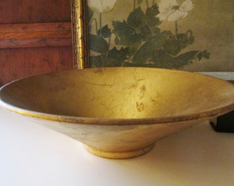 Italian Florentine Centerpiece Bowl, Gold Leaf Finish  Bowl, Golden Footed Dish, Hollywood Regency Bowl, Christmas Holiday Decor