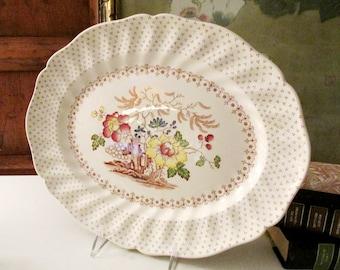 "Vintage Royal Doulton ""Grantham"" Platter, Oval Serving Platter, Romantic Dinnerware, Grandmillenial Style"