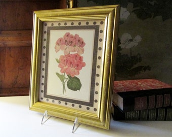 Vintage Rosa Rose Print, Antique Botanical Print, Gilded Frame,
