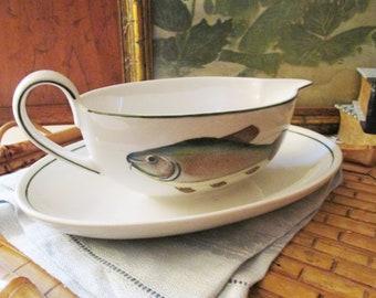 "Villeroy & Boch Fish Gravy Boat, ""Atlantic"" Pattern, Attached Tray Gravy Boat, Vintage Sauce Boat"