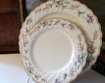 Vintage Noritake Brookhollow Dinner and Salad Plate, Gold Scallop Edge Dinnerware, Formal Dining