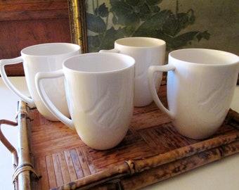 Four Lenox Mugs, White Coffee Mugs, Vintage Cafe Mugs, Lenox Spyro, Kitchen Bistro, White Tea Mug