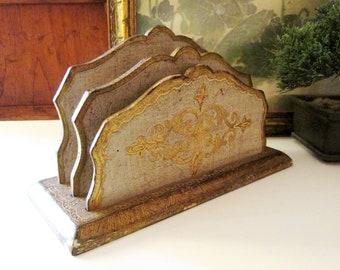 Vintage Ornate Florentine Letter Holder, Made in Italy, Home Office Decor, Wood Mail Holder, Hollywood Regency, Grandmillennial Style