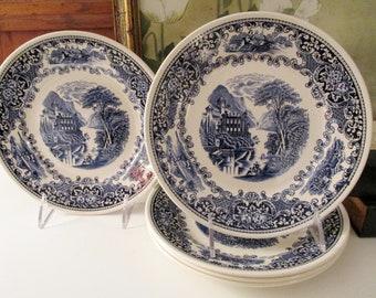 "Five Vintage Myott Staffordshire ""Old Cambridge"" England Set of Five Blue and White Salad Plates"