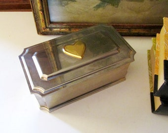 Vintage Lenox Williamsburg Heart Jewelry Box, Vintage Gift, Silver Plated Casket Style, Valentine Gift