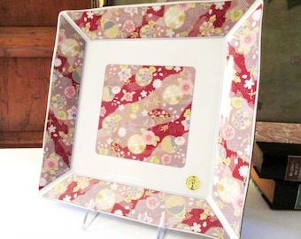 Vintage Pink and White Chinoiserie Large Porcelain Tray, Oriental Decor, Decorative Chinese, Coffee Table Decor