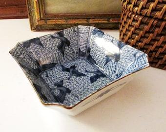 Vintage Chinoiserie Blue and White Trinket Dish, Blue Asian Bird Dish, Oriental Hallmark, Coffee Table Decor