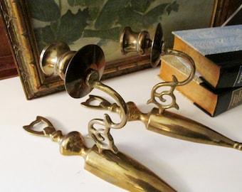 Vintage Brass Sconces, Wall Brass Candlesticks, Brass Wall Sconce Candleholders, Wall Gallery Decor, Brass Traditional Decor