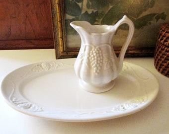 Vintage Red-Cliff Ironstone Grape Small Platter, Footed Creamer, Farmhouse Decor, White Ironstone, Thanksgiving Decor